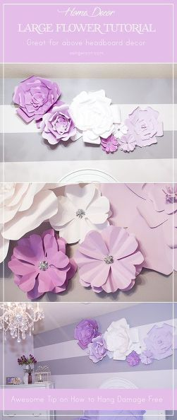 Diy large paper flowers wall decor and above bed also rh pinterest