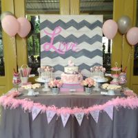 Chevron, pink, grey, baby shower, carriage rossette cake ...