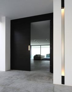 Love the door horizontal slats stained black for interior office doors recess entry like this with light on side also contraste piso con la puerta lighting pinterest modern rh