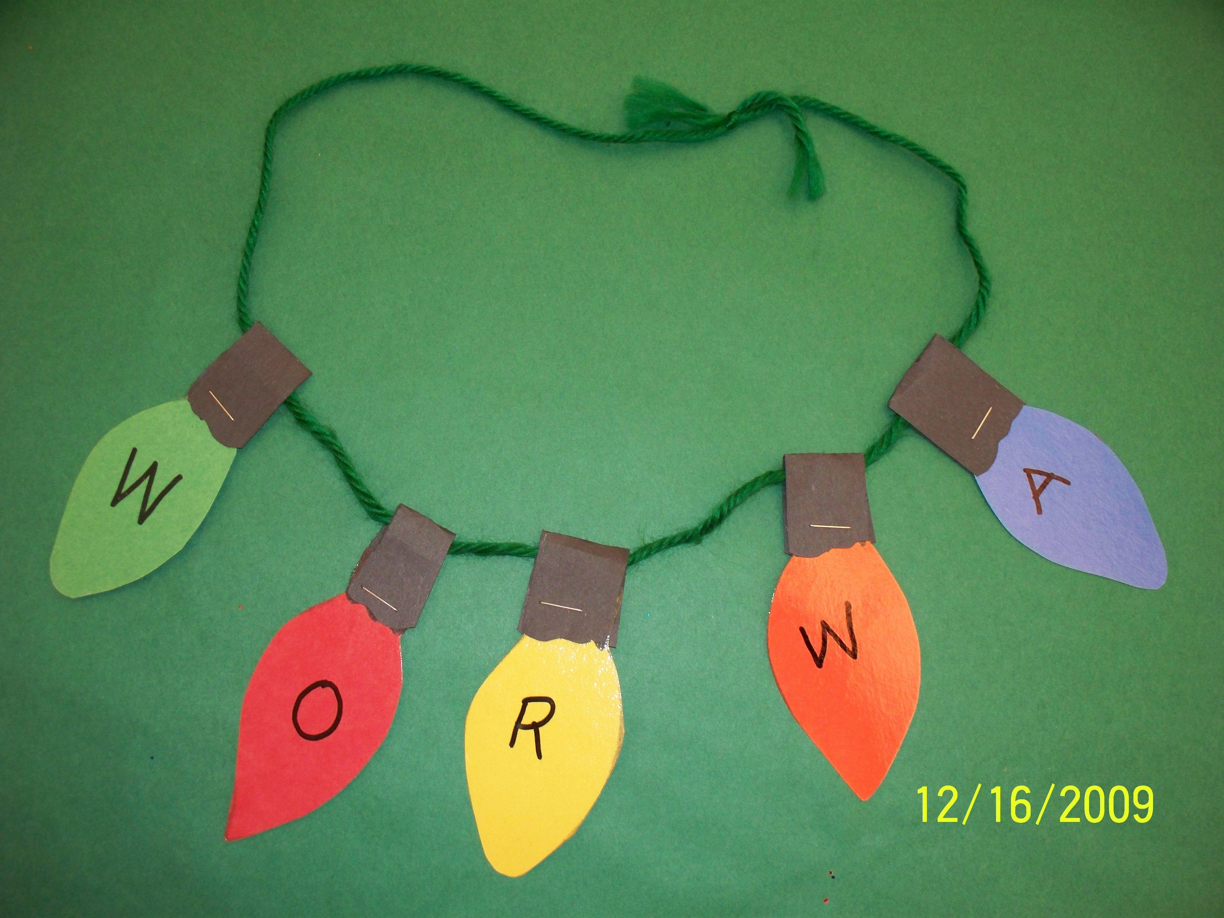 Kids Christmas Worksheet Light