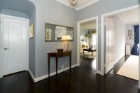 Dark wood floor foyer with my favorite blue paint