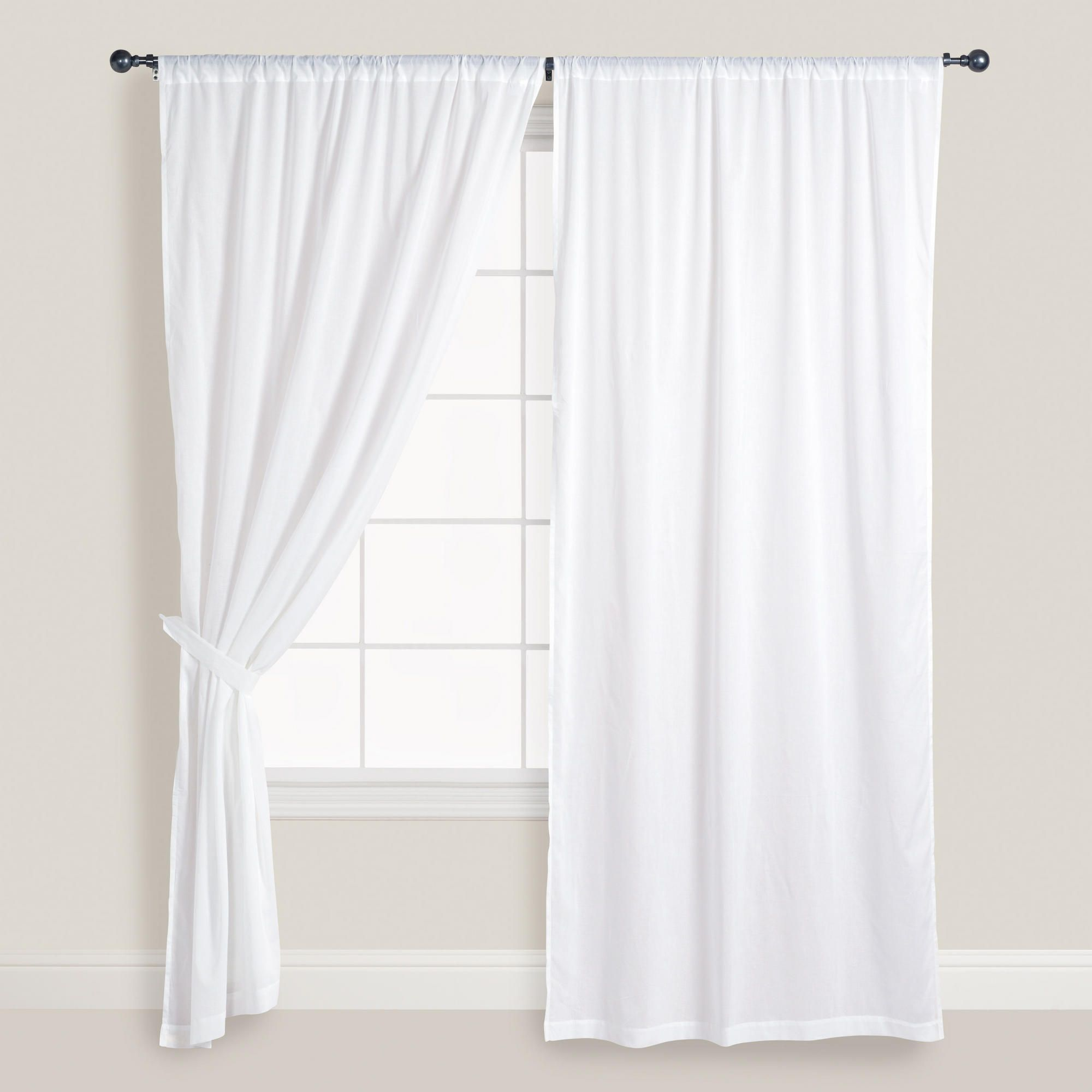 White Cotton Voile Curtains Set of 2  Window Doors and