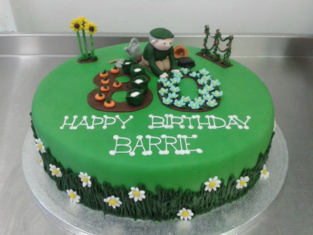 Gardening Themed 80th Birthday Cake Where's The Party