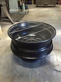 """25"""" semi wheel fire pit with removable grill 