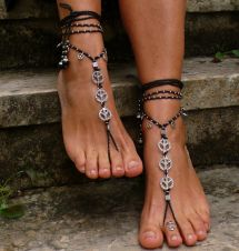 Black And Silver Peace Barefoot Sandals Foot Jewelry