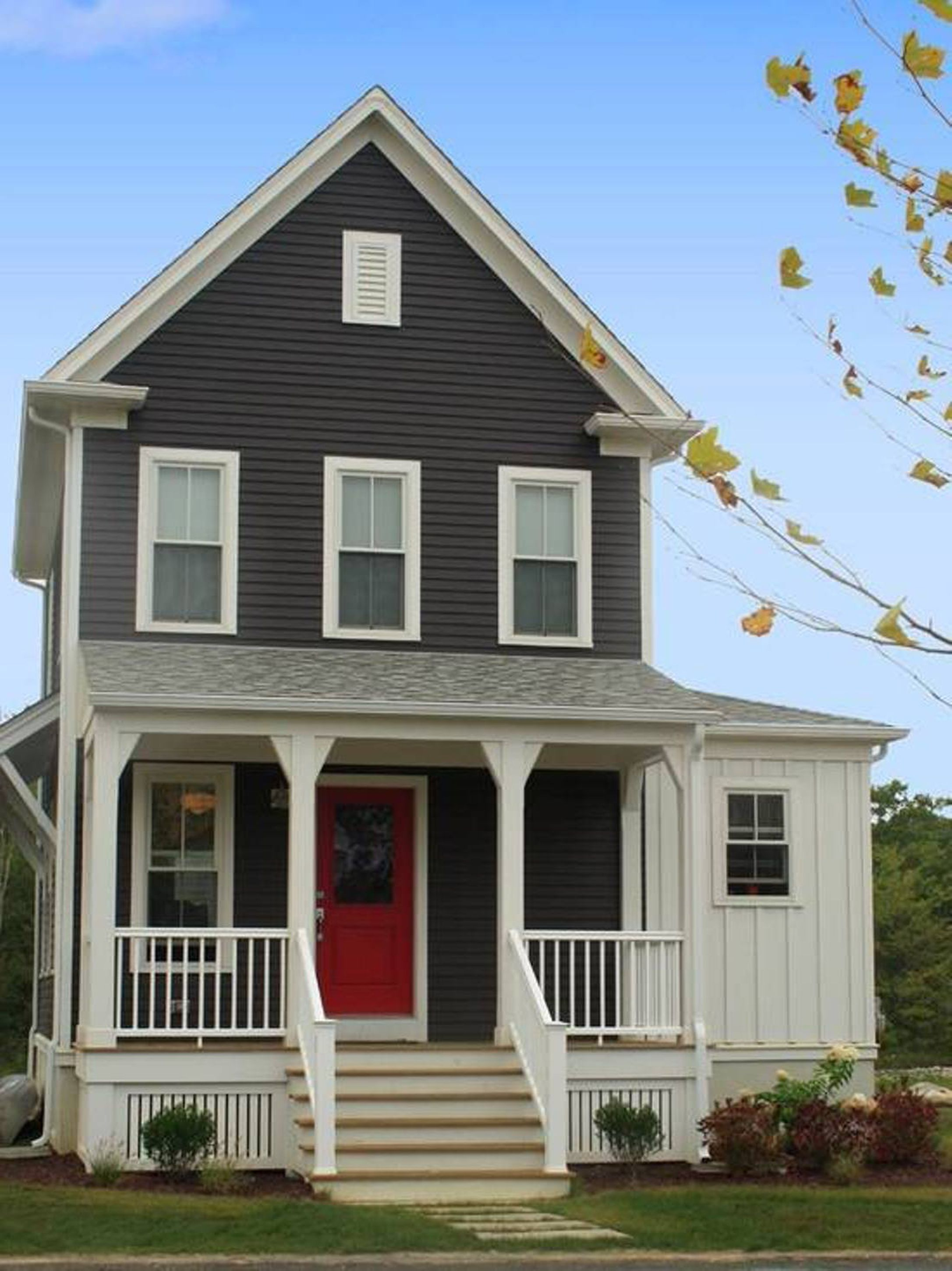 Delightful Gray House Exterior Paint Idea With White Window Frames