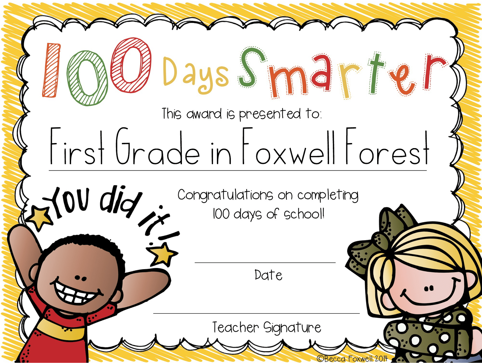 100 Days Smarter Freebie Foxwell Forest