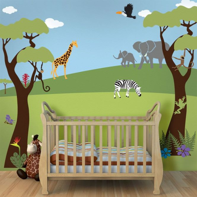 Tree Mural Jungle Wall Stencils For Baby Nursery Large Safari Theme