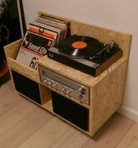 My homemade OSB record player storage/furniture. Records