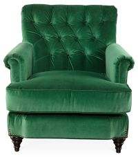 Acton Tufted Chair, Emerald-Green Velvet | One Kings Lane ...