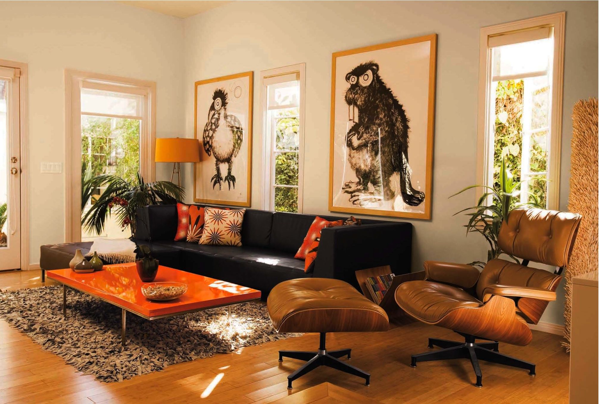 Orange Living Room Chair Dark Brown Couch Orange Accents Side Chair And Ottaman