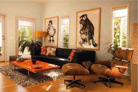 Dark brown couch, orange accents, side chair and ottaman ...