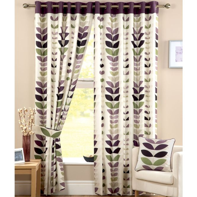 Zest Modern Leaf Print Curtains Cream Aubergine 11 Sizes