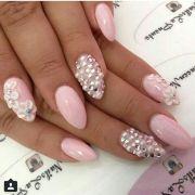 light pink nails - rhinestones