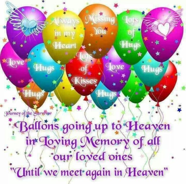 Balloons to heaven quotes thoughts sayings