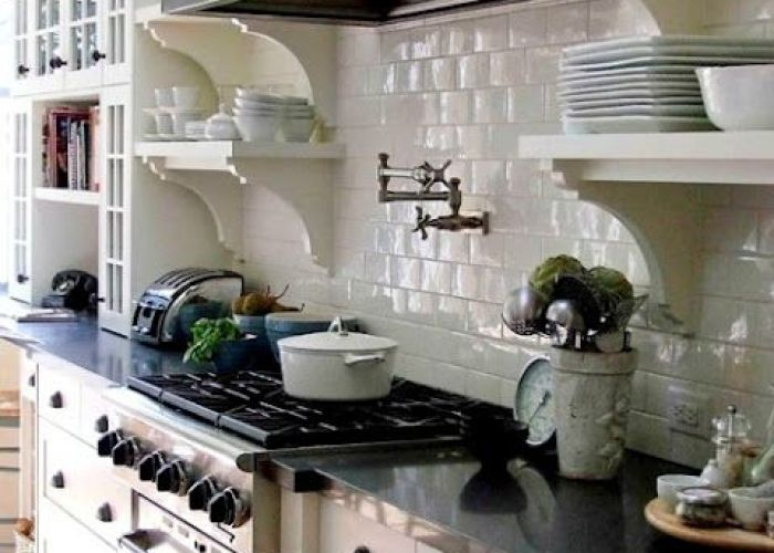 Shelves glass front cabinets and subway tiles white tileskitchen also kitchen ideas