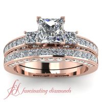 Princess Cut & Round Diamonds 14K Rose Gold Wedding Ring