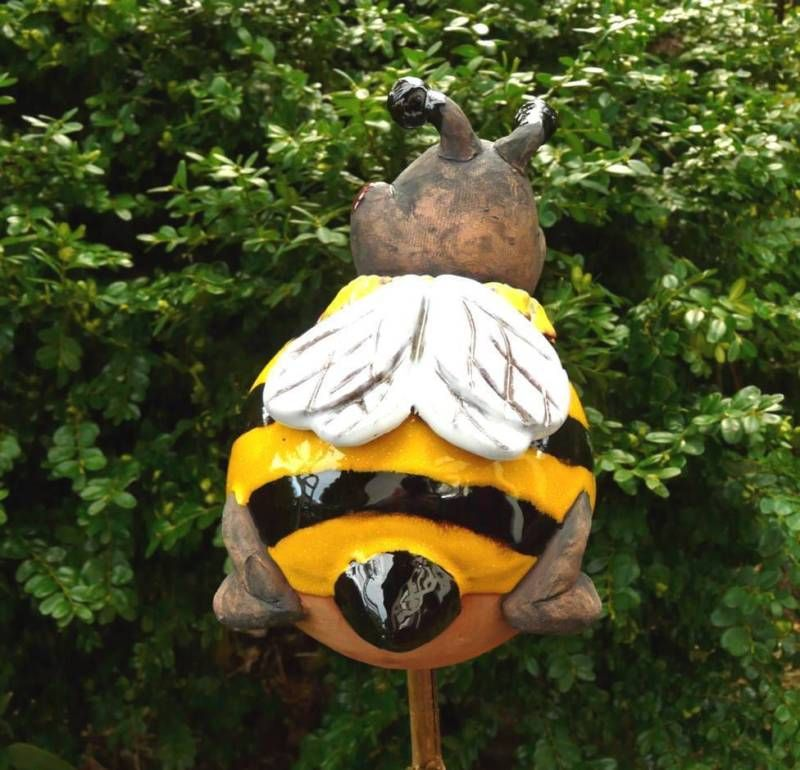 Details Zu Gartenstecker Gartenkugel Beetstecker Biene Maya Keramik Gartendeko Handarbeit