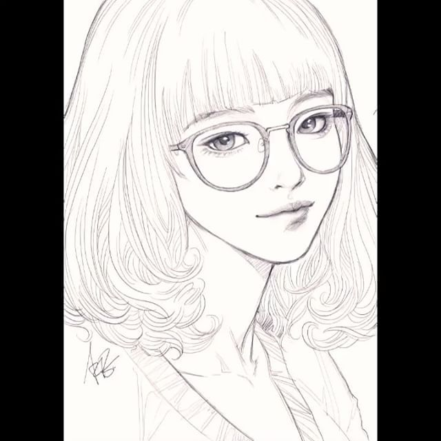 Another girl with glasses sketch on my trusted iPad Pro