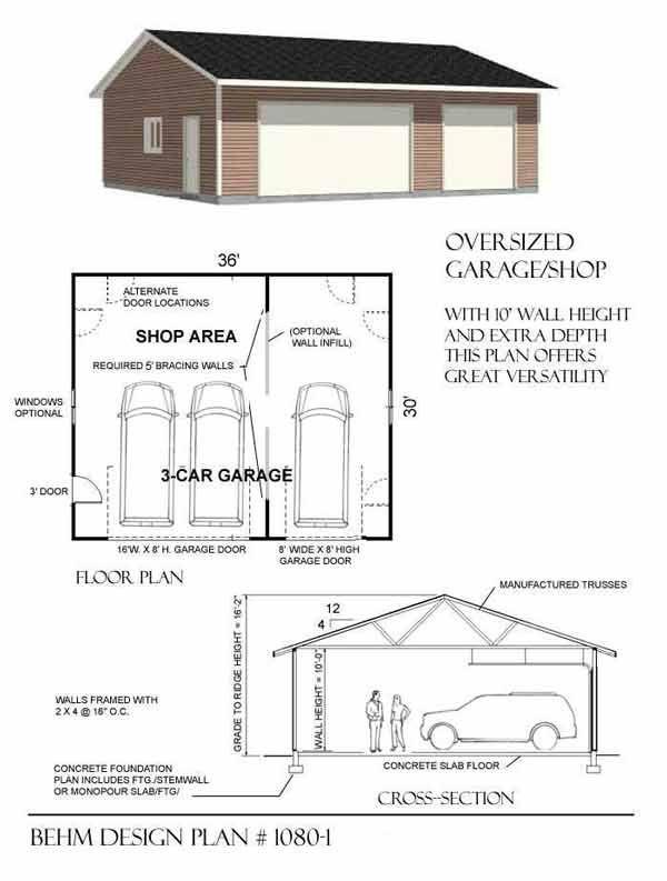 Oversized 3 Bay Garage by Behm Design Plan 1080