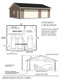 Oversized 3 Bay Garage by Behm Design Plan 1080