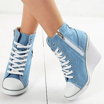 Womens Light Blue Denim Sneakers Zip Wedge Heel - wide width womens shoes. womens high heel shoes. womens designer shoes | Shoes | Pinterest ...