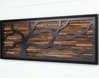 Wood wall art made of old barnwood and steel. Different ...
