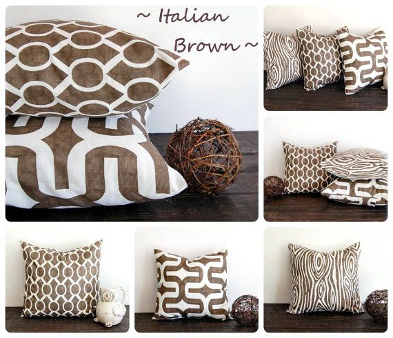 Italian Brown throw pillow cover One cushion cover Italian