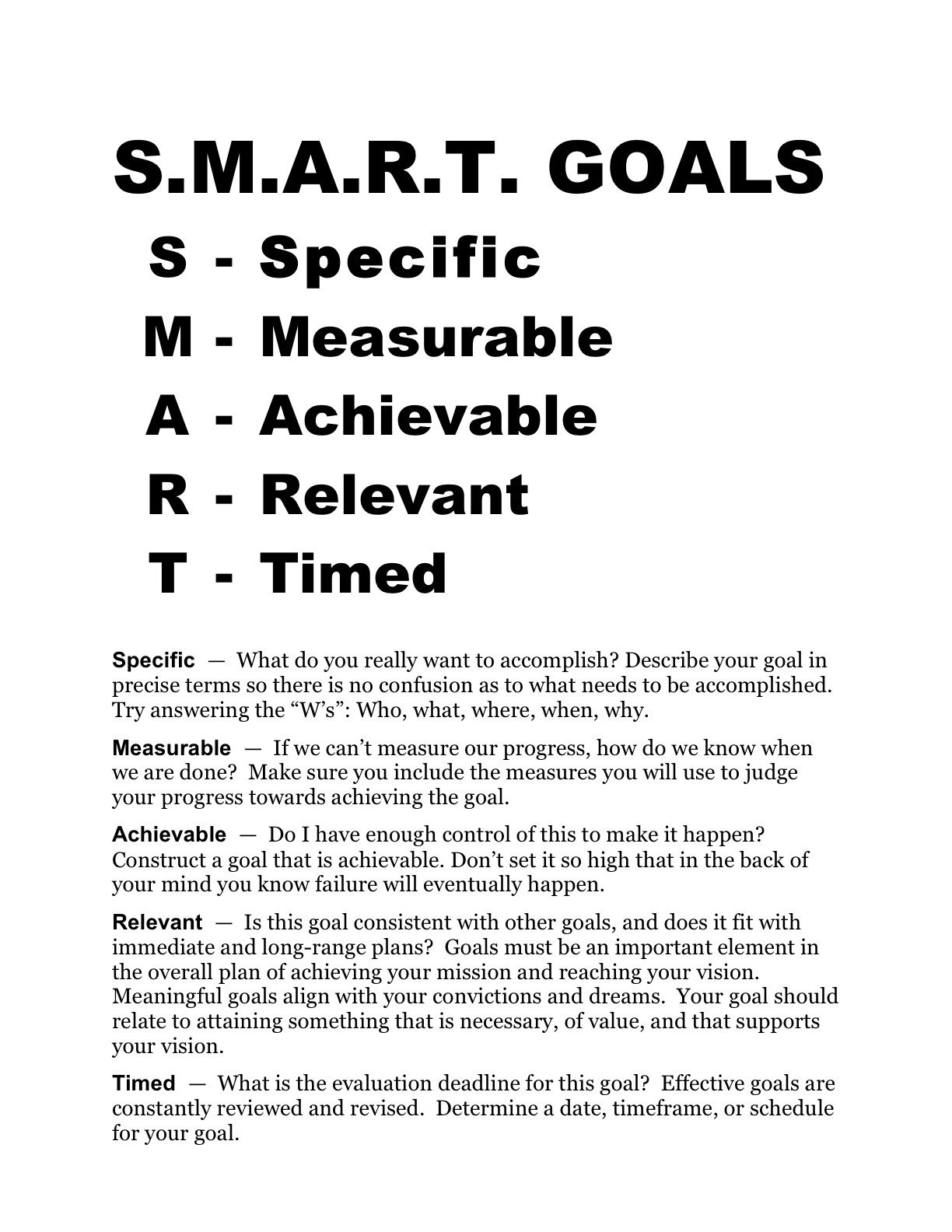 Smart Goals Worksheet