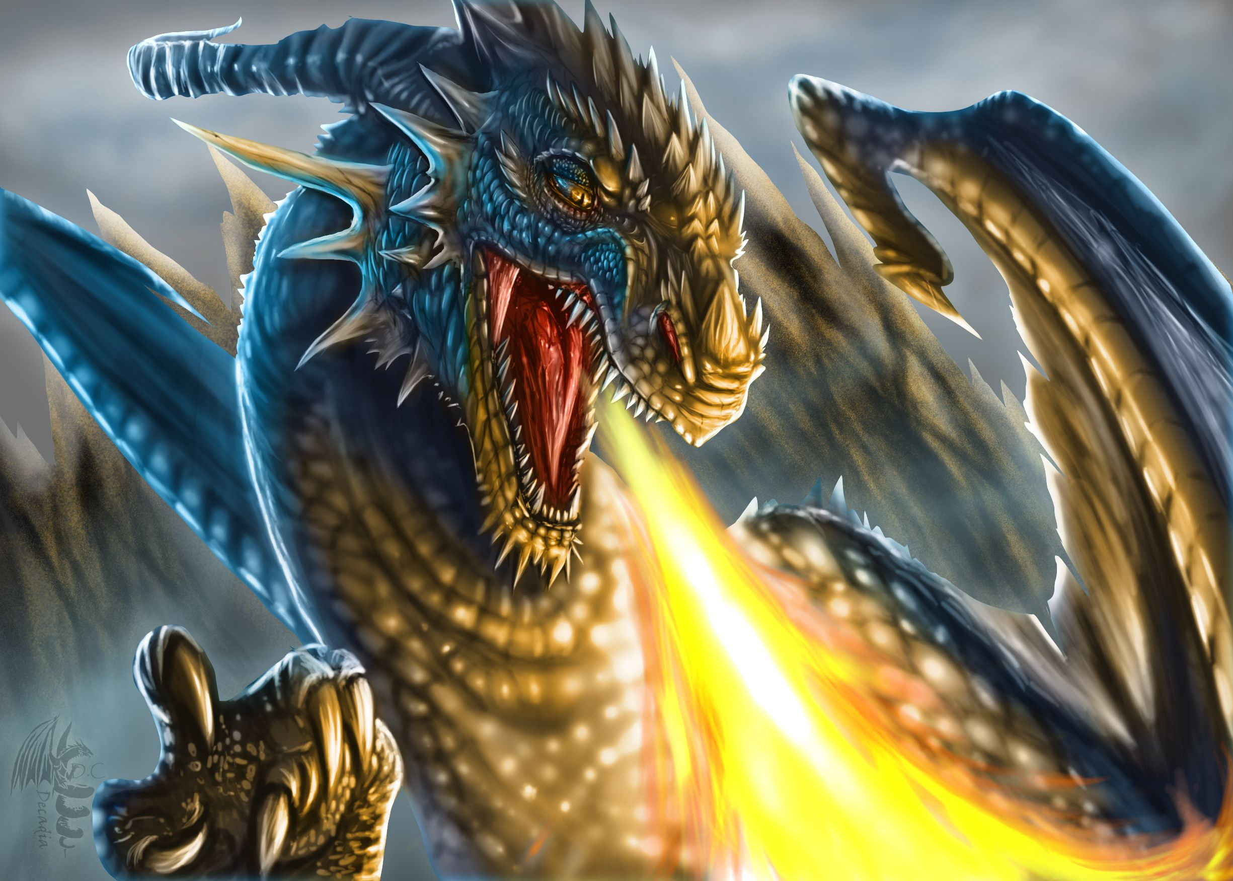 angry fire breath dragon wallpaper :: download to mobile phone