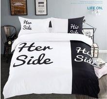 noir et blanc ensemble de literie amant amusement housse de couette drap de lit propagation couvre