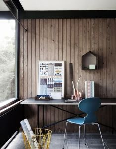 Wood wall blue chair desk space nice cozy home office reminiscent of lake house panelling keeps the mature and focused also workspace inside pinterest rh