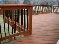 Deck Railing Balusters Redwood Color : Connecting Deck ...