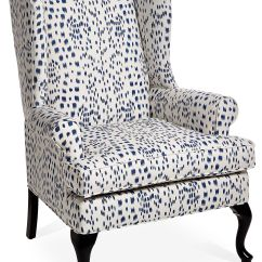 Blue And White Upholstered Chairs Devon Chair Covers Nz The Classic Wingback Gets A Modern Update With