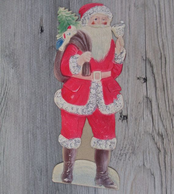 Antique German Cardboard Santa Pressed Paper 1930s Easel