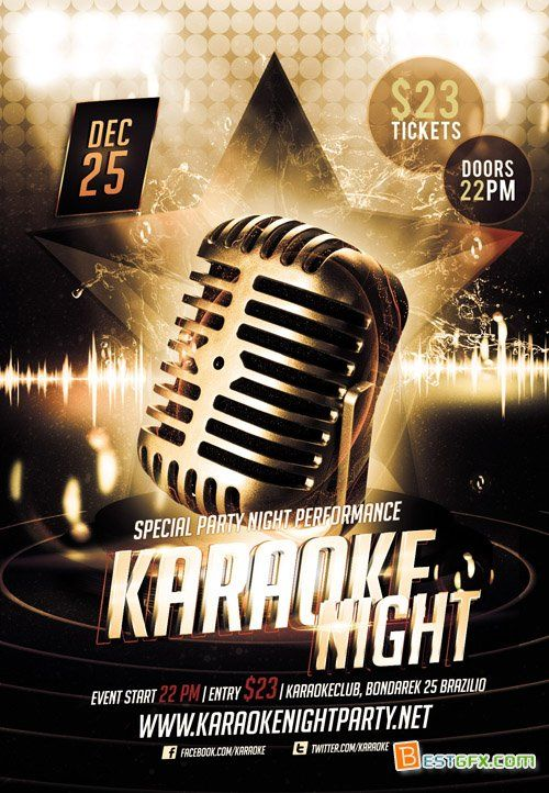 Flyer Template Karaoke Night Party Psd Pinterest Night Parties Flyer Template And Template