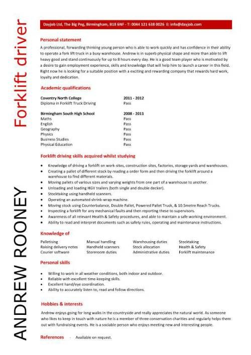 Entry Level Forklift Driver Resume Template Supper Nanny
