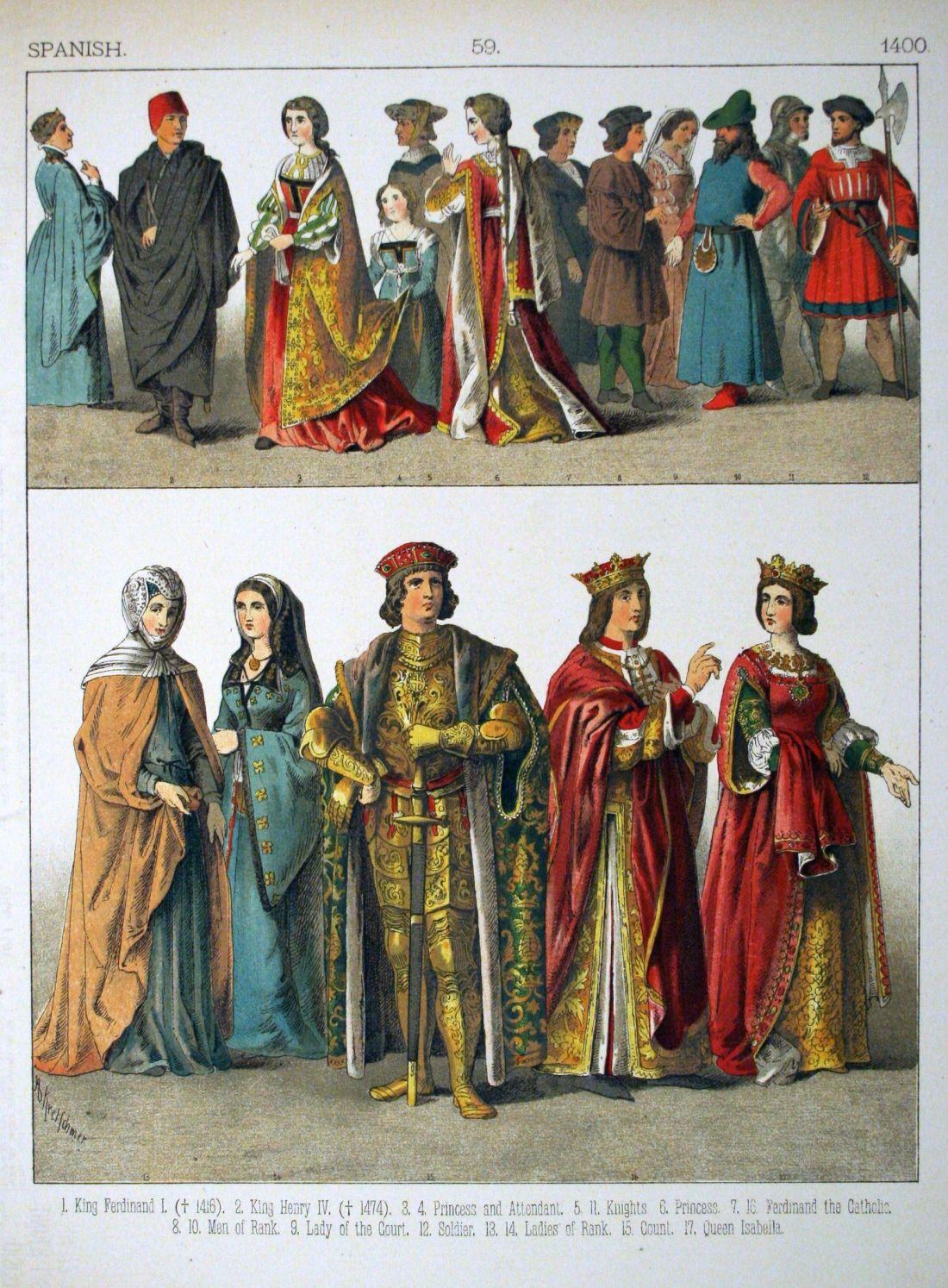 History of costume description 1400 spanish 059