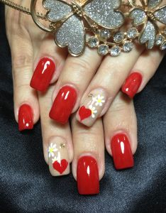 Red nice art color acrylic nail design also nails by laura sandoval rh pinterest