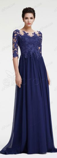 Navy blue mother of the bride dress with sleeves plus size ...