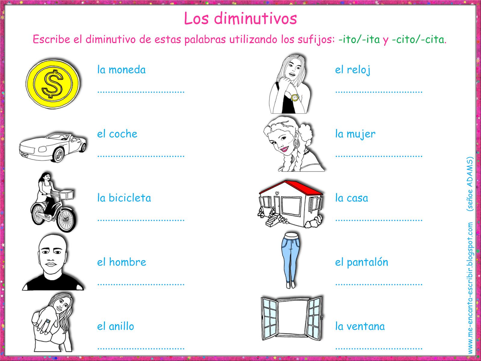 Me Encanta Escribir En Espanol Los Diminutivos Espanol