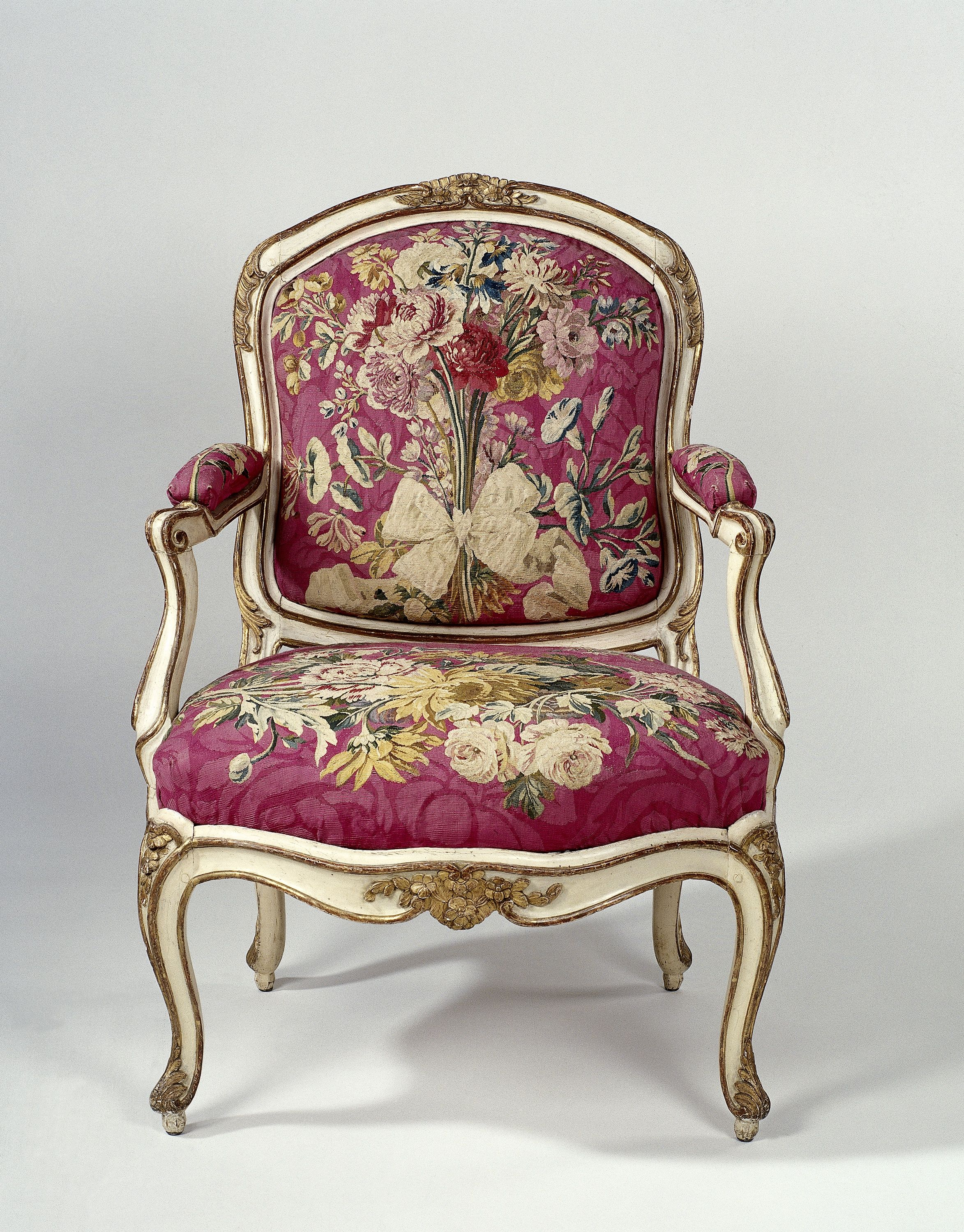 Flower Chair Armchair In Tapestry With Flower Bouquets By Gourdin C