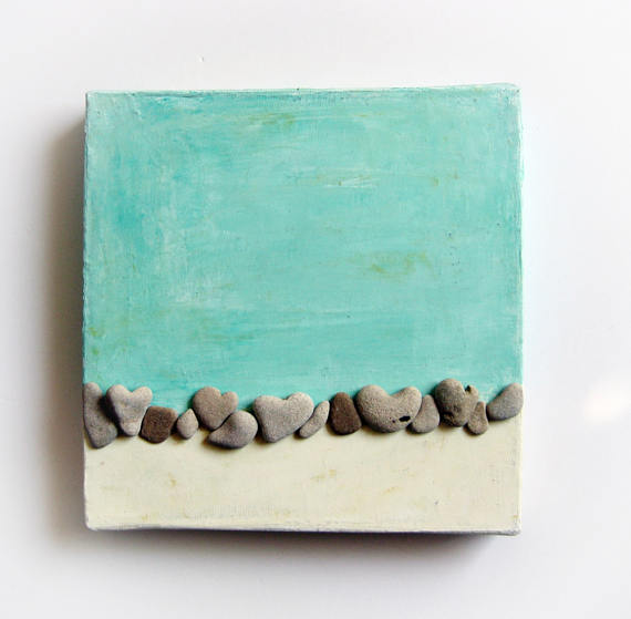 Pebble Art Heart Rocks Nature Inspired Wall Art Beach House