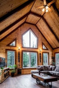 Using different stain colors on your log home interior ...