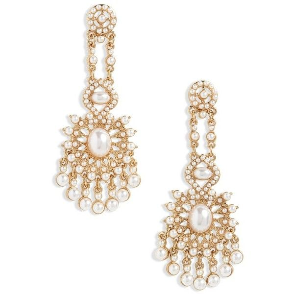 Women S Loren Olivia Imitation Pearl Chandelier Earrings 36 Liked On Polyvore Featuring Jewelry