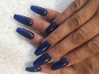 Dark blue nails and coffin shape | Acrylic nail ...