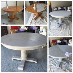 Diy Furniture Grey Wash Pedestal Dining Table With Annie Sloan Chalk Paint Paris A French
