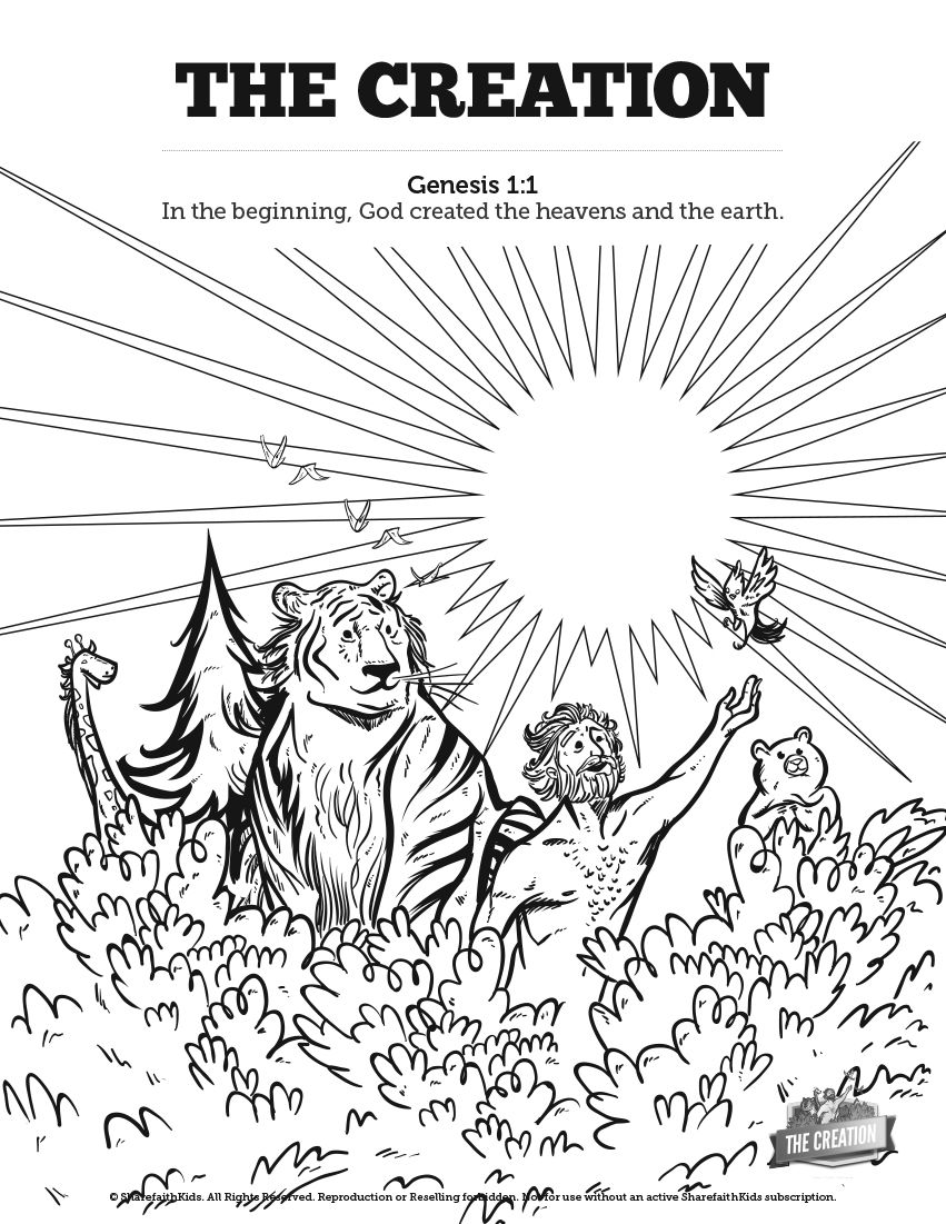 The Creation Story Sunday School Coloring Pages: Your kids