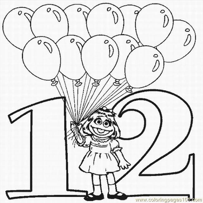 free printable Number 12 Coloring Pages