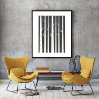 Birch forest, geometric print, minimalist art poster ...